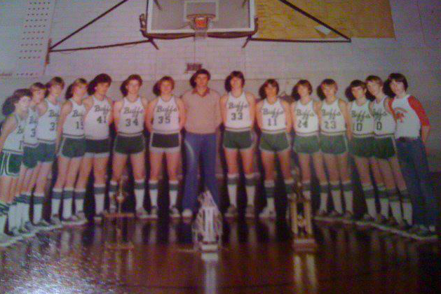 1981 - Our championship year. That's Coach Ellis at center and I'm #34, second from his right. I love the people in this photo.