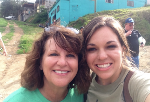 Kathy (left) with a friend on mission in Costa Rica.