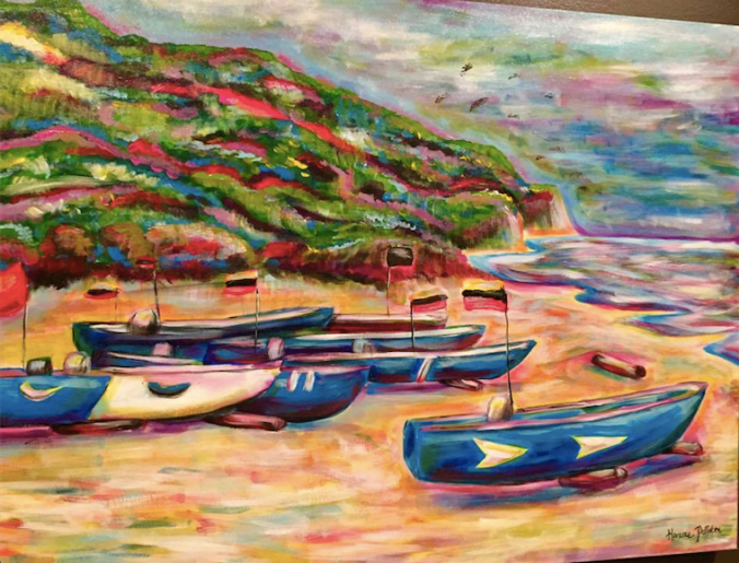 Hanne's work depicting one of our favorite scenes along the Ecuadorian coast near the town of San Lorenzo.